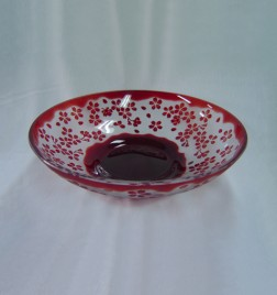 色被せガラス 大皿 桜