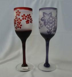 被せ 引き足ワイングラス 桜、葡萄 完売