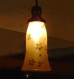 ラッパ型ガラス ペンダントランプ 桜