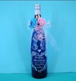 エッチングボトル Blue wine エンジェル