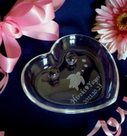 ガラスリングピロー ハートトレー 海亀