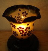 三層被せ 花ぶちスタンド 木製 黒器具 桜